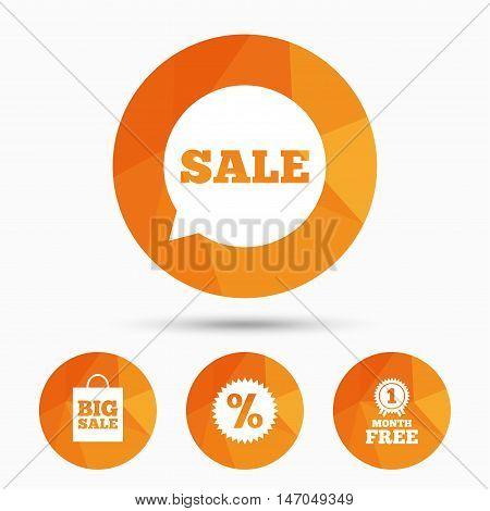 Sale speech bubble icon. Discount star symbol. Big sale shopping bag sign. First month free medal. Triangular low poly buttons with shadow. Vector