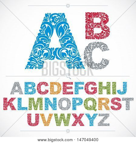 Ecology style flowery font colorful vector typeset made using natural ornament. Alphabet capital letters created with spring leaves and floral design.