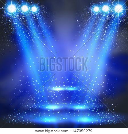 party stage or disco light spotlights shining, backgrounda