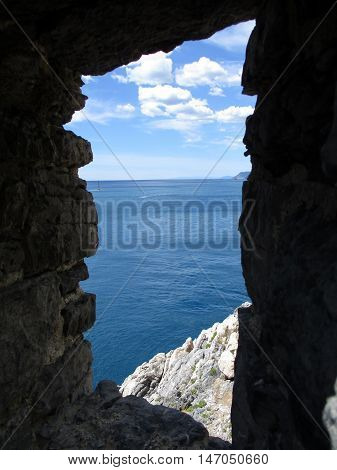 The Sea Of Portovenere From The Remains Of The Old Village E