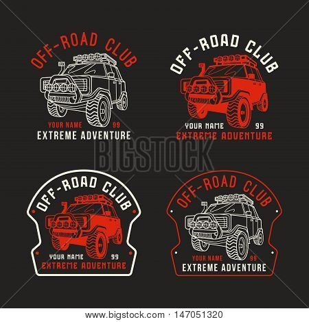Stock vector off-road club emblem. Sticker design for your car. Color print on black background