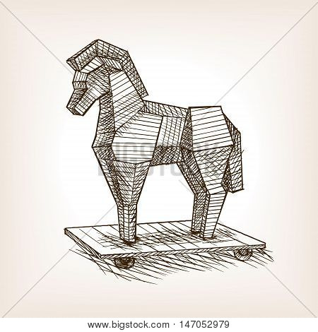 Trojan horse sketch style vector illustration. Historical object. Old hand drawn engraving imitation.