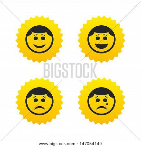 Circle smile face icons. Happy, sad, cry signs. Happy smiley chat symbol. Sadness depression and crying signs. Yellow stars labels with flat icons. Vector