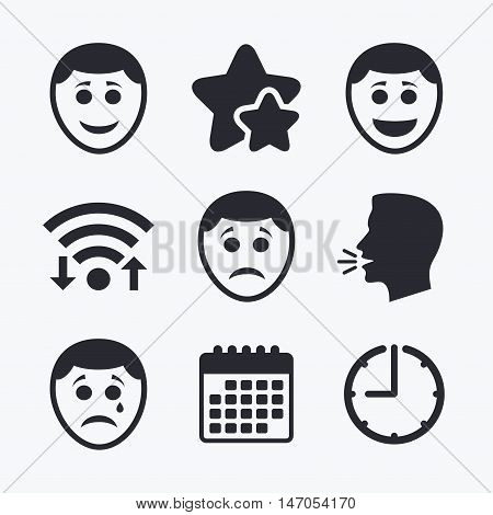 Human smile face icons. Happy, sad, cry signs. Happy smiley chat symbol. Sadness depression and crying signs. Wifi internet, favorite stars, calendar and clock. Talking head. Vector