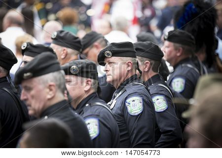 NEW YORK-SEPT 9 2016: Members of Seattle Police Pipes and Drums line up after performing in NYPD Emerald Society Pipe and Drums 9/11 Memorial Procession on the 15th anniversary of the terror attack.