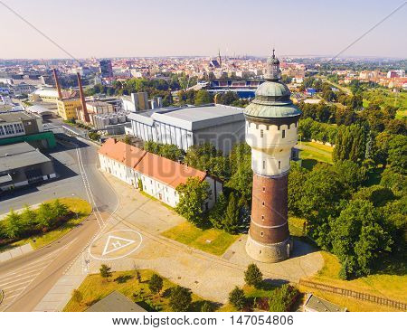 Aerial view to Pilsener brewery and medieval center of Pilsen. Here's place of production most known beer on the world. Food Industry in Czech Republic, Central Europe.