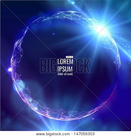 Abstract 3d Illuminated distorted Mesh Sphere . Neon Sign . Futuristic Technology HUD Element . Elegant Abstract Destroyed Sphere .