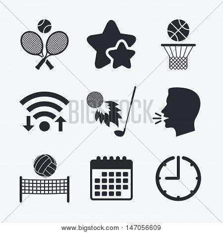 Tennis rackets with ball. Basketball basket. Volleyball net with ball. Golf fireball sign. Sport icons. Wifi internet, favorite stars, calendar and clock. Talking head. Vector
