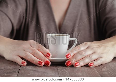 Morning Cup Of Espresso And Hand