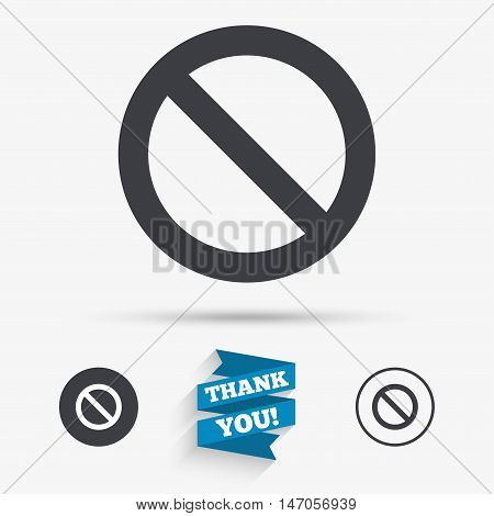 Stop sign icon. Prohibition symbol. No sign. Flat icons. Buttons with icons. Thank you ribbon. Vector