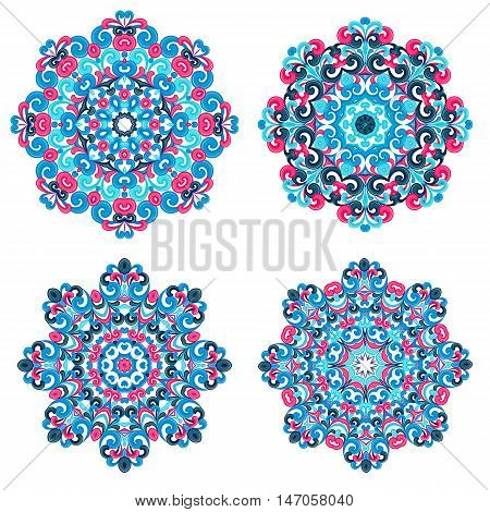 Colorful mandalas in oriental style. Set of round ethnic patterns isolated on white background. Traditional lace ornaments. Arabic, asian, islamic, indian motifs. Vector illustration