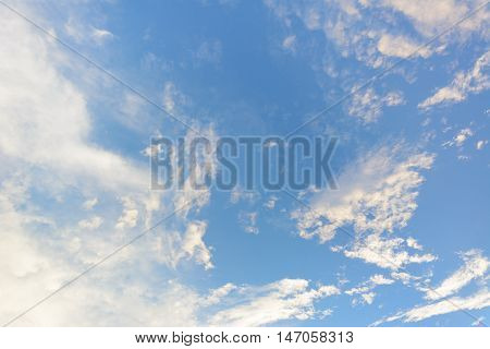 Clouds and blue sky for background .