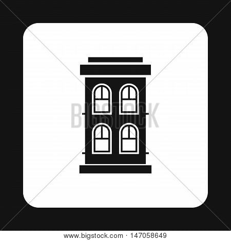 Two storey house with large windows icon in simple style isolated on white background. Structure symbol vector illustration