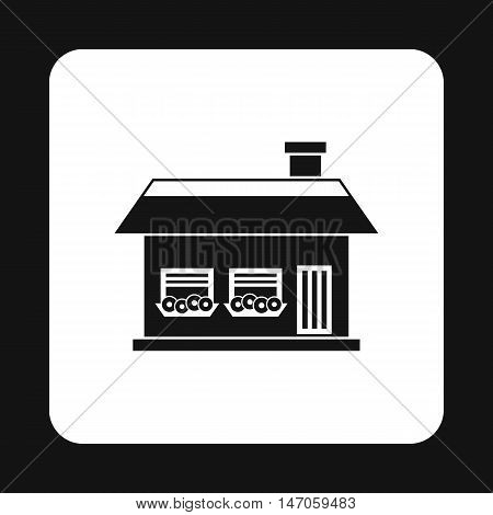 One storey house with two windows icon in simple style isolated on white background. Structure symbol vector illustration