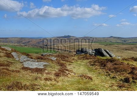 Dartmoor landscape with Haytor and other tors in the distance.