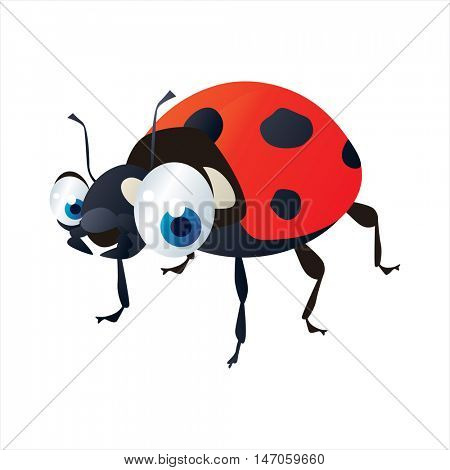 vector cartoon cute animals. Insects. Ladybug