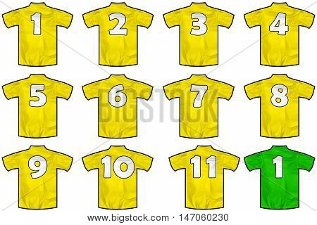 12 twelve yellow team sport shirts as a soccer hockey basket rugby baseball volley or football team t-shirt. Like brazil national team