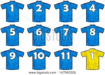 12 twelve Blue sport shirts as a soccer hockey basket rugby  baseball volley or football team t-shirt. Like France national team