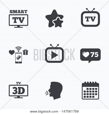 Smart 3D TV mode icon. Widescreen symbol. Retro television and TV table signs. Flat talking head, calendar icons. Stars, like counter icons. Vector