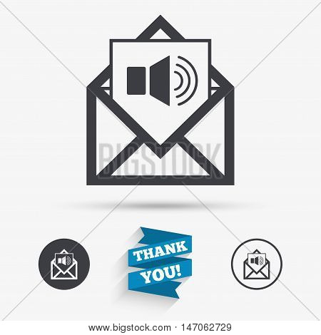 Voice mail icon. Speaker symbol. Audio message. Flat icons. Buttons with icons. Thank you ribbon. Vector
