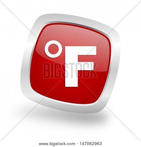 fahrenheit square glossy red chrome silver metallic web icon