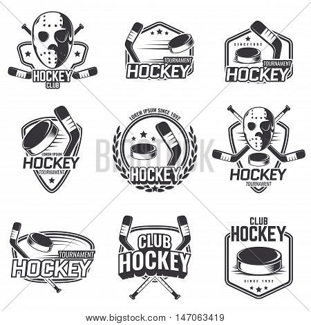 The logos on the theme of sport. Posters, stickers, emblems, logos for hockey. Different frames, objects sports design. Vector set of hockey emblems.