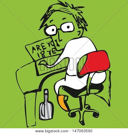 Cartoon teenager looks through adult content web-sites. Vector illustration.