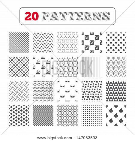 Ornament patterns, diagonal stripes and stars. Hand wash icon. Machine washable at 30 degrees symbols. Laundry washhouse and water drop signs. Geometric textures. Vector