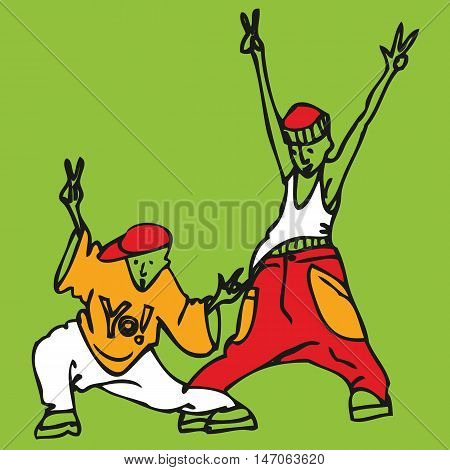 Cartoon couple of young rappers in repperskoy clothes dancing and gesturing. Vector illustration.
