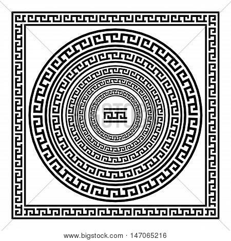 Greek Ornament art border vector greece black vintage