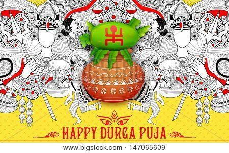 illustration of goddess Durga in Happy Dussehra background