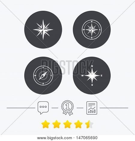 Windrose navigation icons. Compass symbols. Coordinate system sign. Chat, award medal and report linear icons. Star vote ranking. Vector