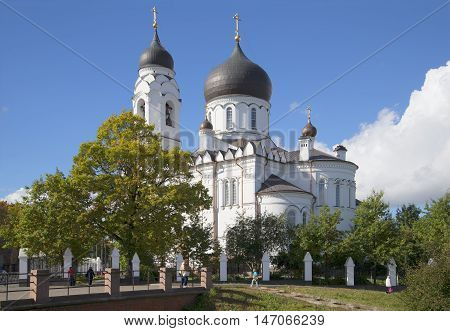 LOMONOSOV, RUSSIA - SEPTEMBER 20, 2015: A view on the old Cathedral of St. Michael the Archangel, sunny september day. Religious landmark  of the city Lomonosov