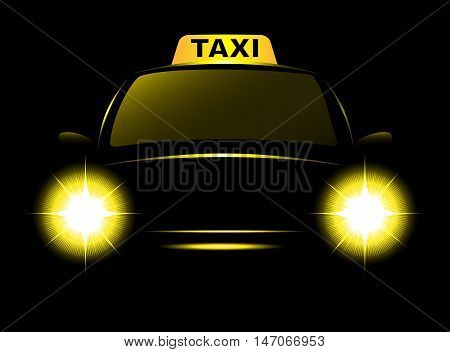 Dark Cab Silhouette With Taxi Sign