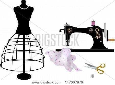 Tailor items: sewing vintage machine, scissors, dummy