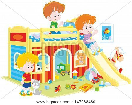 Vector illustration of children playing in a playroom