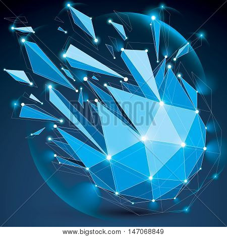 3d vector low poly spherical object with sparkles white connected lines and dots geometric wireframe blue shape with refractions. Radiance perspective colorful shattered form.