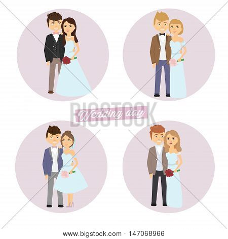 Newlyweds set . Wedding , married couple Vector illustration