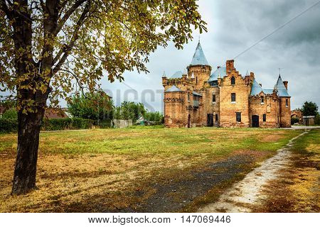 pictorial autumn landscape with old castle. Ukraine, Zaporozhye