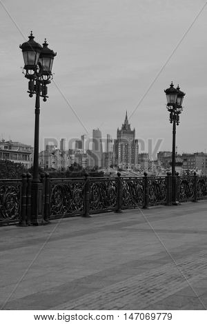 View Of The City From The Bridge Black And White