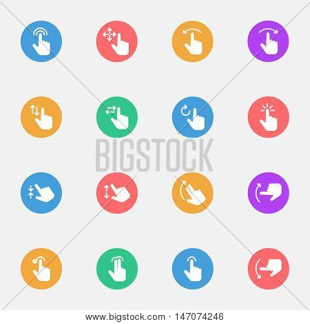 Touch Screen Touch Gesture Icons flat icon set of 16