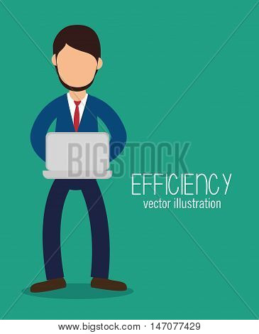 avatar efficiency work technology design isolated vector illustration esp 10
