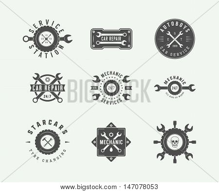 Vintage mechanic and car service logos emblems badges labels marks prints and posters. Vector Illustration.