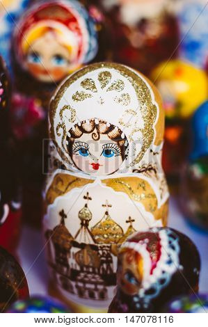 Beautiful Colorful Russian Nesting Dolls Matreshka At Market. Matrioshka Is Folks Cultural Symbol Of Russia. Wooden Doll Matryoshka