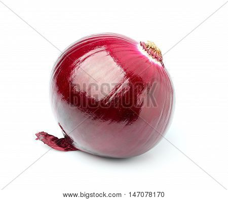 Raw red onion closeup isolated on white background.