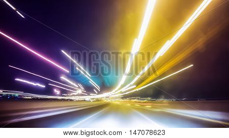 Blurred Abstract image of Long exposure night traffic light in the city