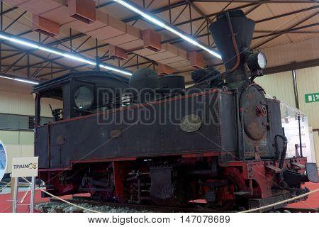 Thessaloniki, Greece - September 12 2016: Greek trains steam engine exhibit. Nicknamed