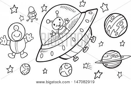 Cute Outer Space Doodle Set Vector Art