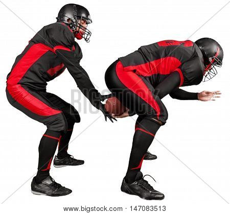 American Football Quarterback Taking The Snap - Isolated