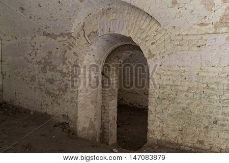Ruins inside the fort Tarakanovskiy. Arches. Catacombs. Dubno. Ukraine